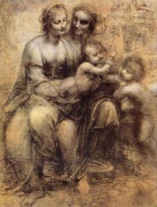 The Virgin and Child with St Anne and St John the Baptist (c. 1499–1500 or c. 1506–1508) charcoal, black and white chalk on tinted paper mounted on canvas 55.7 × 41.2 inches by Leonard da Vinci