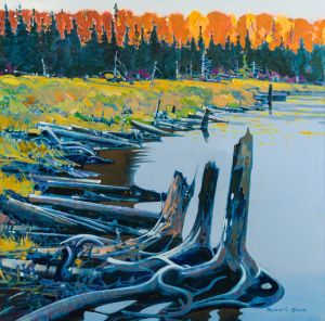 Evening, Canoe Lake, Algonquin Park, ON, 1990 30 x 30 inches Acrylic on canvas by Robert Genn