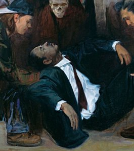 The Legacy and Burial of Martin Luther King oil on canvas 68 x 68 inches by Samuel Adoquei
