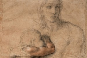 Unfinished cartoon for a Madonna and Child c. 1525-30 by Michelangelo