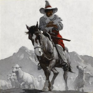 Untitled (Country Gentleman cover), 1917 oil oil on canvas, 30 x 30 inches by N.C. Wyeth