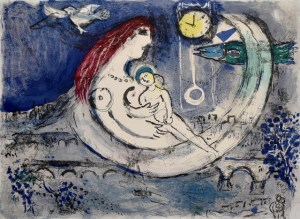 Blue Landscape (Paysage bleu), 1958 colour lithograph on Arches Wove Paper 22 4/5 × 29 7/10 in by Marc Chagall (1887-1985)