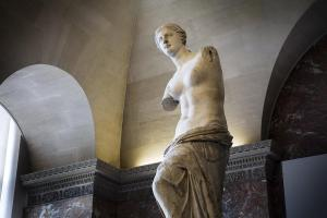 Venus de Milo, 101 BCE marble sculpture 6 feet, 8 inches by Alexandros of Antioch (1st - 2nd Century, BCE)