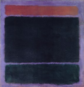 Untitled (Rust, Blacks on on Plum), 1962 oil paint, pigment, glue on canvas 60 x 57 inches by Mark Rothko