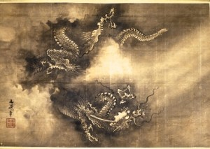 Dragon in Clouds, c. 1820 ink by Tani Bunchō