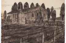 Drawing of Eugene Street (n.d.) soot and saliva on found paper by James Castle