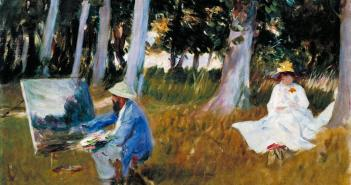 Claude Monet Painting by the Edge of a Wood, 1885  Oil on canvas 54 × 64.8 cm by John Singer Sargent