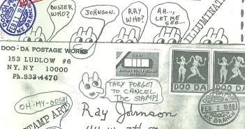 Envelope for mail art, February 3, 1980 sent to Ray Johnson