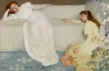 Symphony in White No. 3, 1865-1867 Oil on canvas 20.1 x 30.2 inches by James McNeill Whistler. The model is Joanna Hiffernan, the artist's mistress.