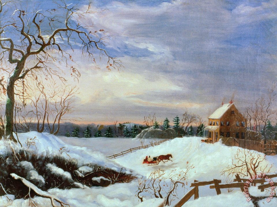 American Paint And Wallpaper Fall River American School Snow Scene In New England Painting Snow