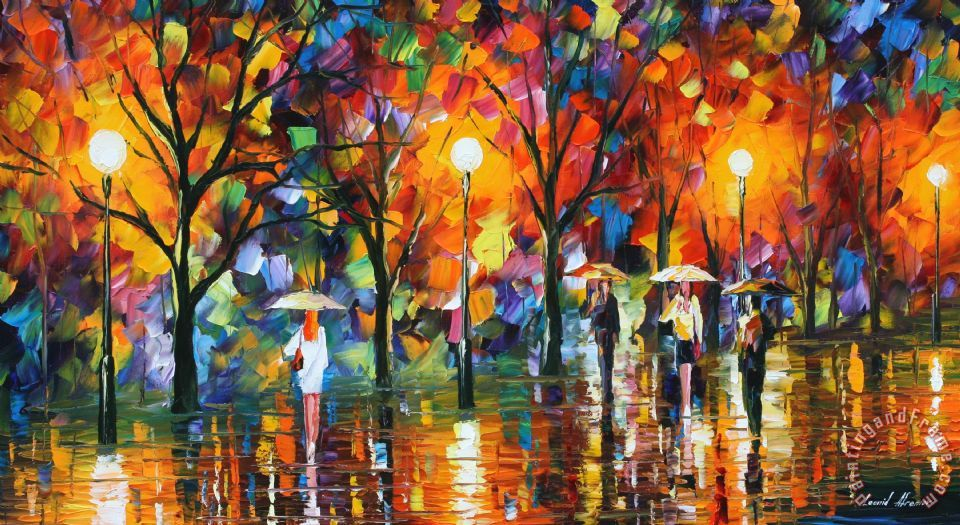 Lonely Girl Walking In Rain Wallpaper Leonid Afremov The Song Of Rain Painting The Song Of