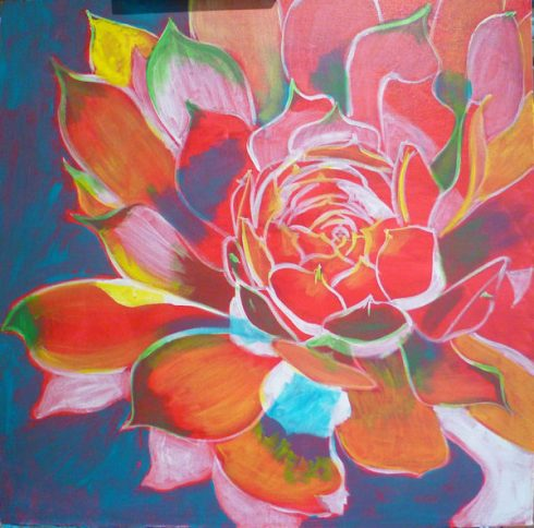 learn to paint flowers with acrylic, Still painting with contrasting colors.