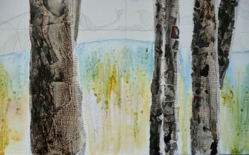 Then I start working with watercolors on the background, this is the creek.
