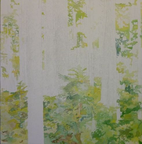 I then paint all the foliage with the various mixes of green
