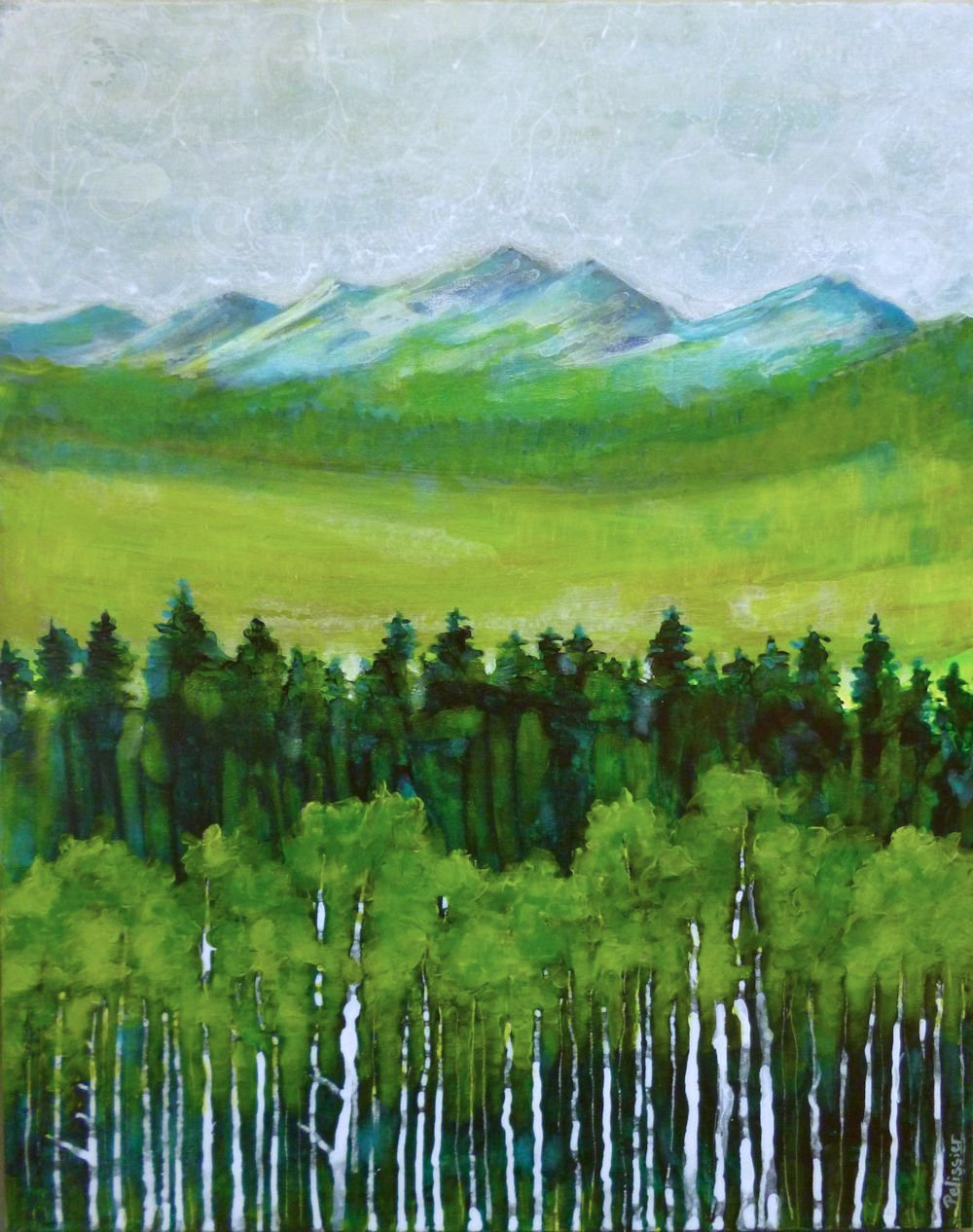 Semi abstract mountain landscape acrylic painting on for Abstract nature painting