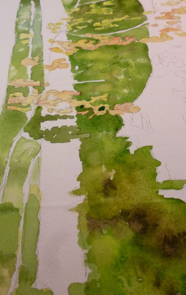 Painting the foliage, mixing colors wet in wet.