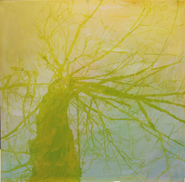 green underpainting on the tree
