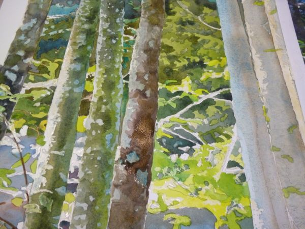 Then work on the bark of the trees rendering the textures by