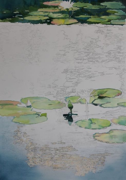 painting Lilly pads leaves