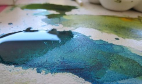 I will then paint wet in wet,mixing blue, green, brown, yellow and red liquid acrylic to make different shades of green.