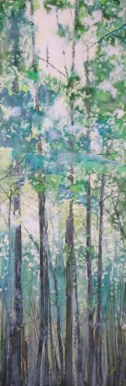 Walking in the Woods Liquid Acrylic and Markers on Canvas 12 x 36 inches