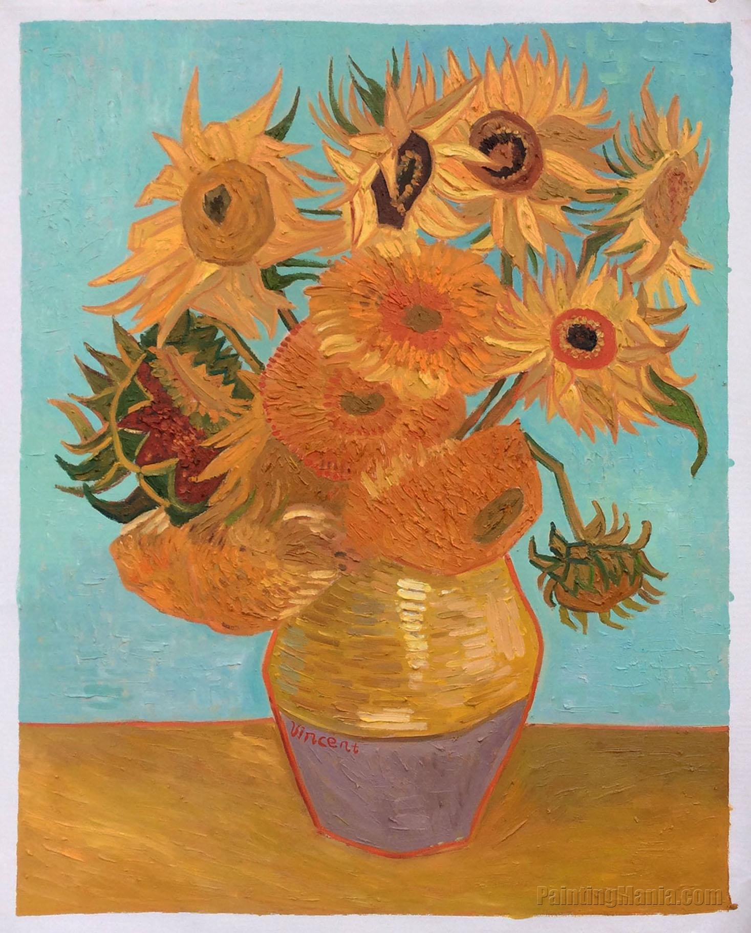 Vincent Van Gogh Paintings Sunflowers Still Life Vase With Twelve Sunflowers Vincent Van Gogh