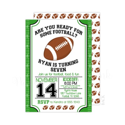 Football Field Birthday Invitation with Back Design