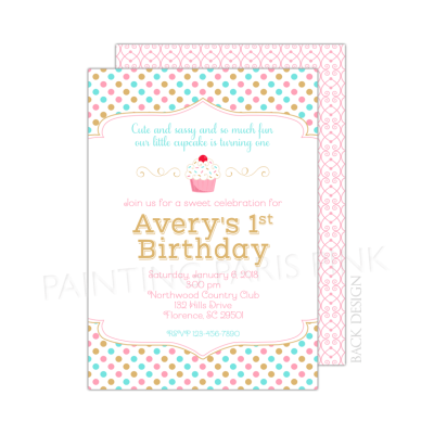 First birthday little cupcake birthday party invitation filmwisefo Gallery