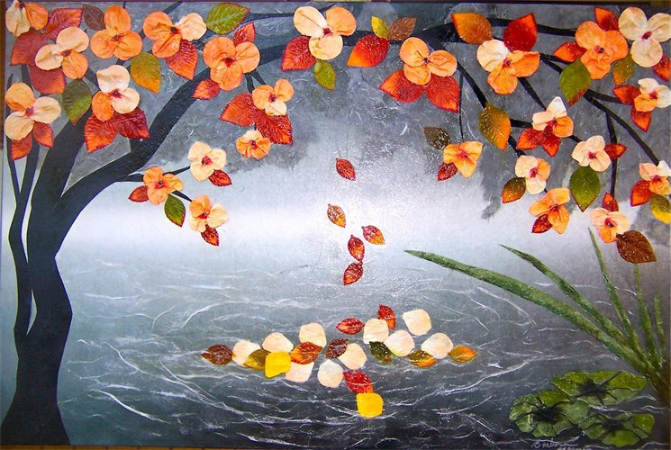 Floating Petals- Sold Painting With Paper
