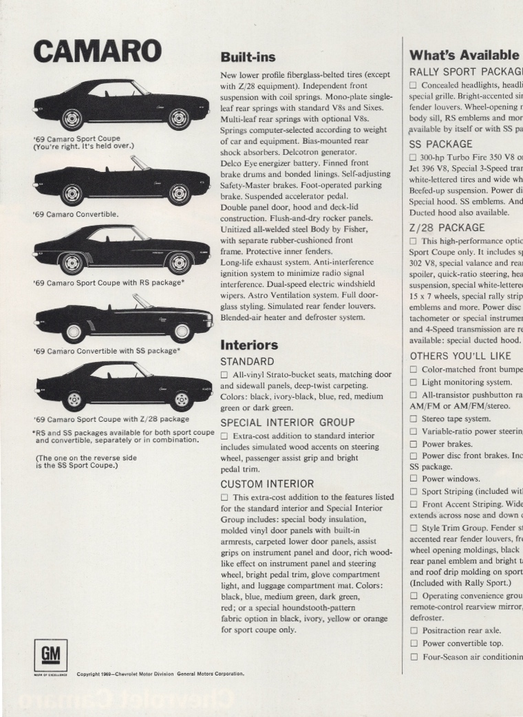 1978 chevrolet camaro brochure