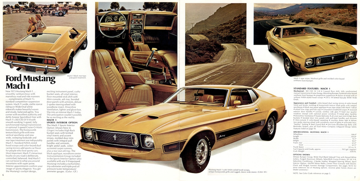 1973 Ford Mustang Mach II - Pages 6 \ 7 from Mustang sales - sports brochure