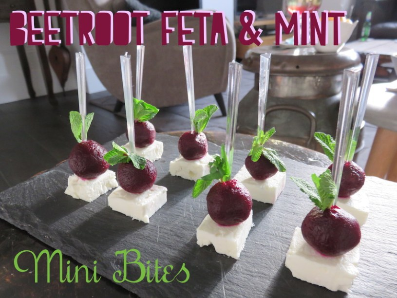 Beetroot feta and mint canapes
