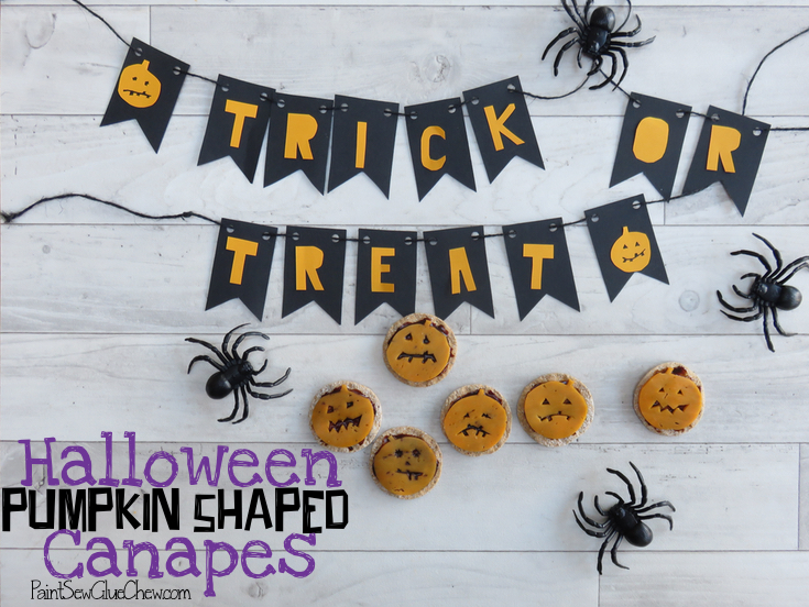 Halloween Canapes; Pumpkin shaped cheese and crackers