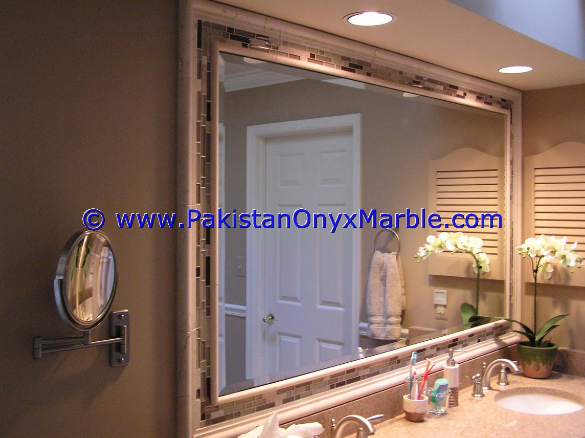 Stone Framed Bathroom Mirrors Marble Mirror Frame Border Mosaic Molding Wall Home