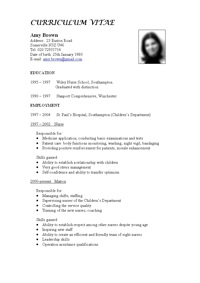 basic curriculum vitae template sample of simple personal ...