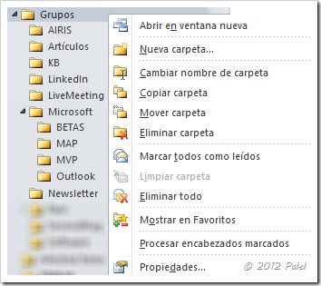Menú contextual de carpetas en Outlook 2010
