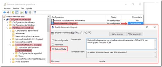 BCM Office 2013-2016: No actualizar - Directivas de grupo - palel.es