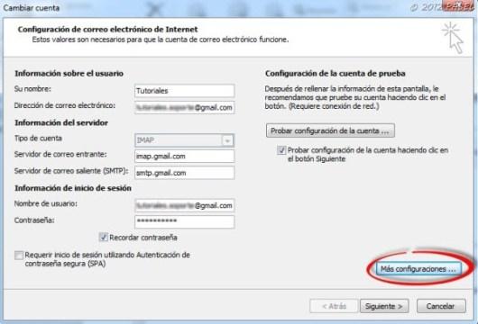 Configuración de una cuenta Gmail como IMAP