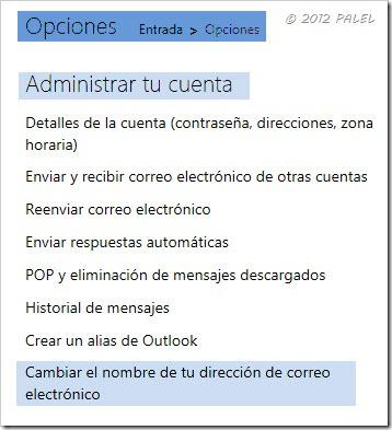 Outlook.com - Opciones de correo - Administrar tu cuenta