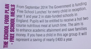 Free School Lunches Dinners Policy UK