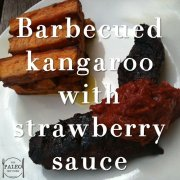 Barbecued Kangaroo with Strawberry Sauce & a Cube of Chips paleo diet recipe-min