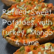 Paleo recipe diet Refilled Sweet Potatoes with Turkey, Mango and Lime dinner lunch primal-min