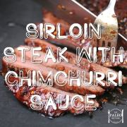 Sirloin Steak with Chimchurri Sauce and Caramelised Onions paleo recipe dinner grass fed beef-min