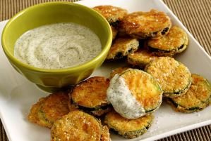 Paleo Fried Zucchini with Cool Dill Dip