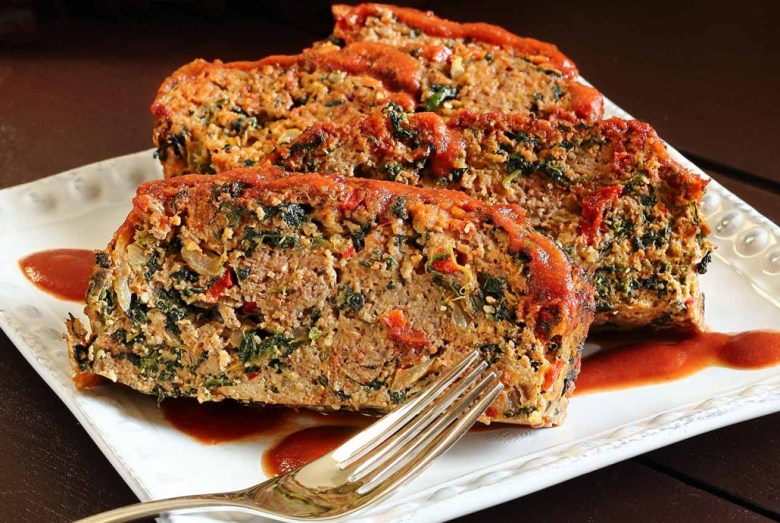 Paleo Turkey Meatloaf with Kale and Tomatoes