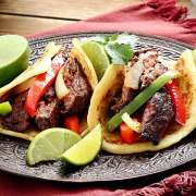 easy paleo recipe for steak fajitas made with paleo tortillas