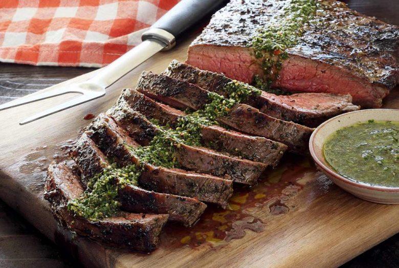 Paleo Flank Steak with Garlic Wine Sauce
