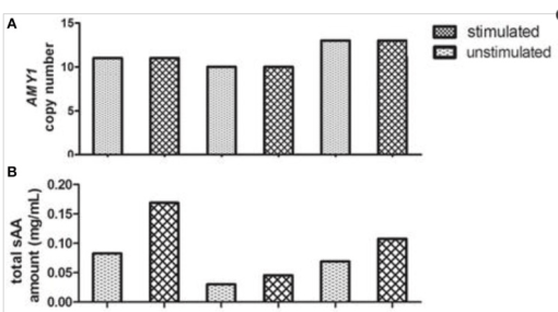 Representative of variations of AMY1 copy number, total and glycosylated sAA amount from three subjects. The AMY1 copy number (A) was estimated by qPCR. Total (B) and glycosylated (D) sAA amount of unstimulated (u) and stimulated (s) saliva were estimated by the method mentioned in Materials and Methods. A Western blot image (C) is served as representative.