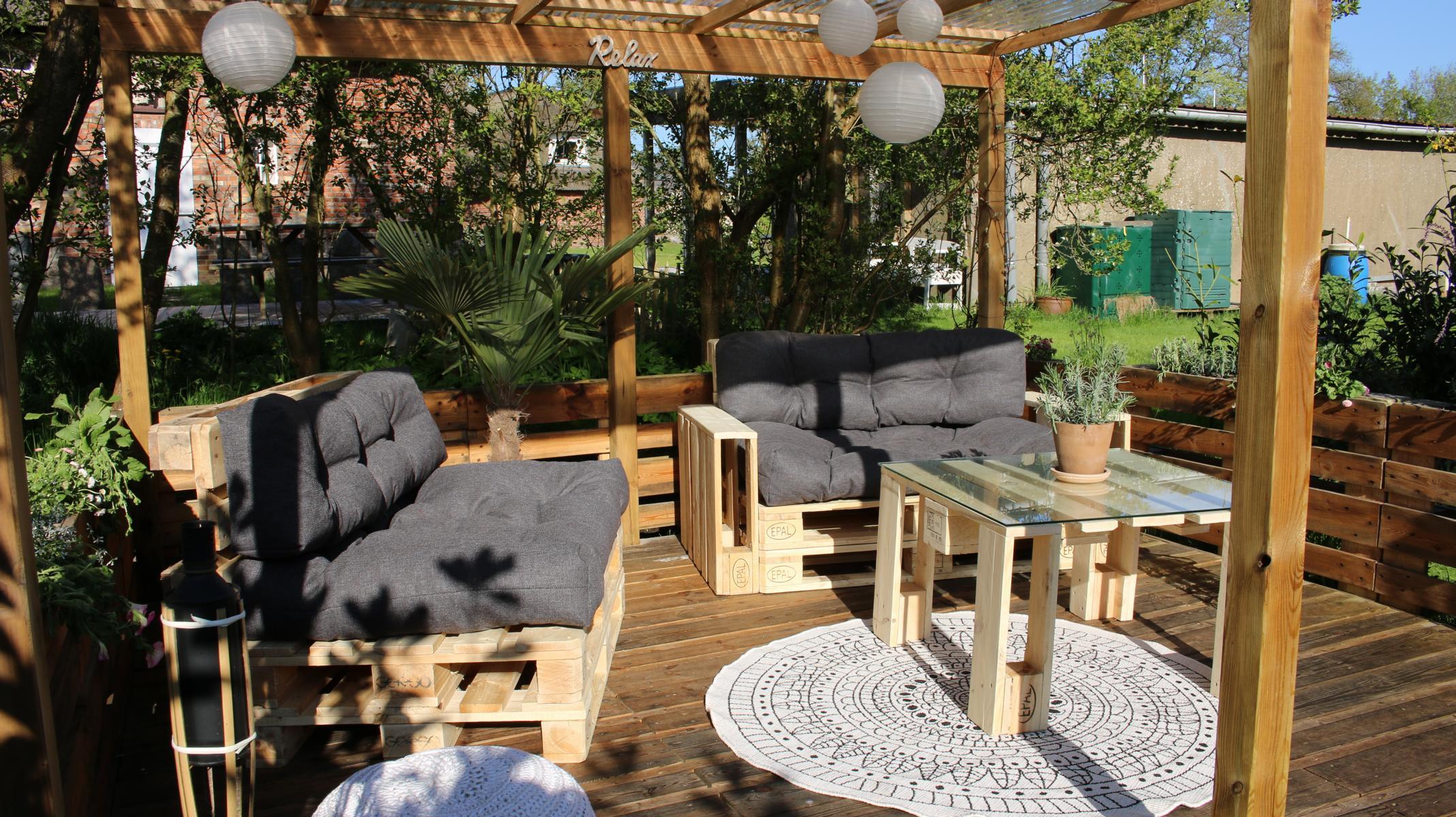 Terrasse Europaletten Garten Sichtschutz Aus Paletten Garten Pinterest