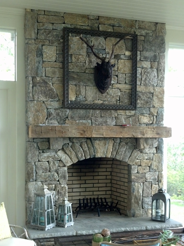 Native Stone Fireplace With Arch Stone Detail Sample 03 Palillos Stone Masonry